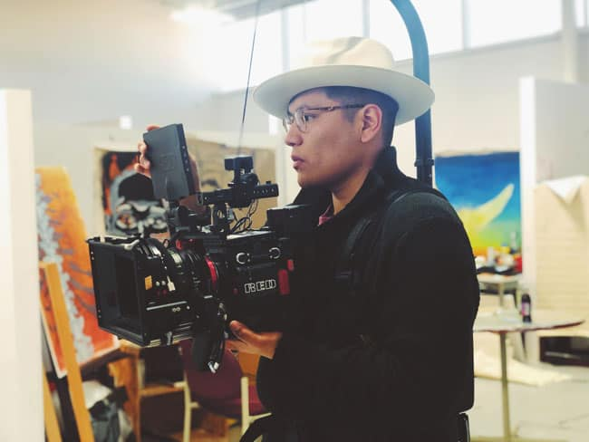 Michael RL Begay holding a cinema camera